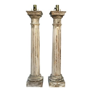 Antique Carved Wood Columns Tall Table Lamps - a Pair For Sale