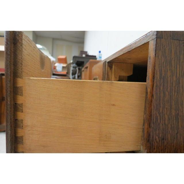 Wood English Tiger Oak 4 Drawer Tabletop Card File For Sale - Image 6 of 10