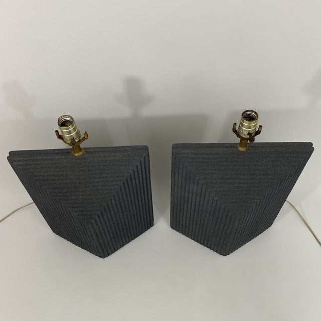 1980s Grey Postmodern Stepped Ceramic Lamp Pair For Sale - Image 10 of 13