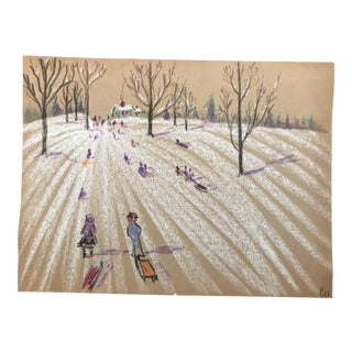1940s Mid-Century Snowscape by Evelyn Underwood For Sale