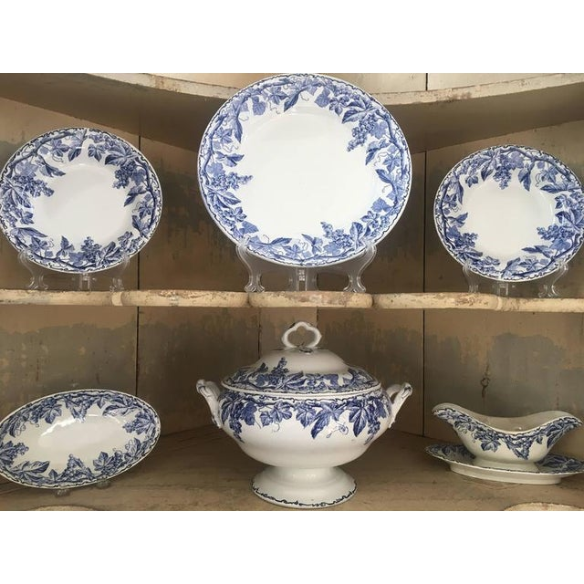 45 Piece Set of Blue and White Creil et Montereau - Image 3 of 6