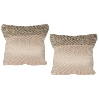 Contemporary Modernist Pillows in Taupe with Metallic Silver Thread - a Pair For Sale