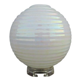Iridescent Globe Lamp With Lucite and Brass Base For Sale