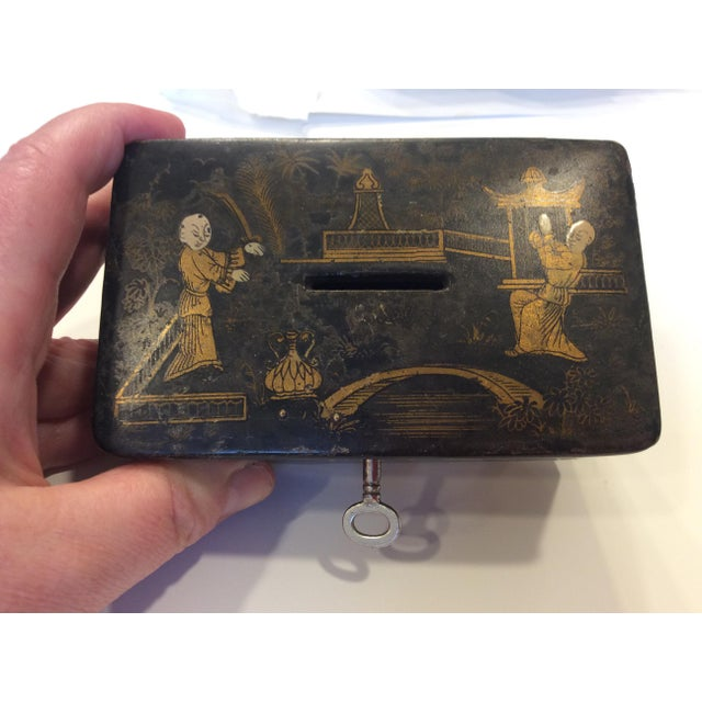 Amazing antique small money box with lock and working key! Chinoiserie decoration made of wood and black lacquer. Good...