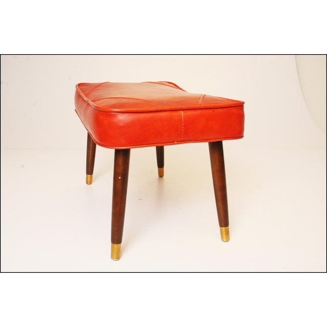 Mid-Century Modern Orange Vinyl Foot Stool - Image 4 of 11