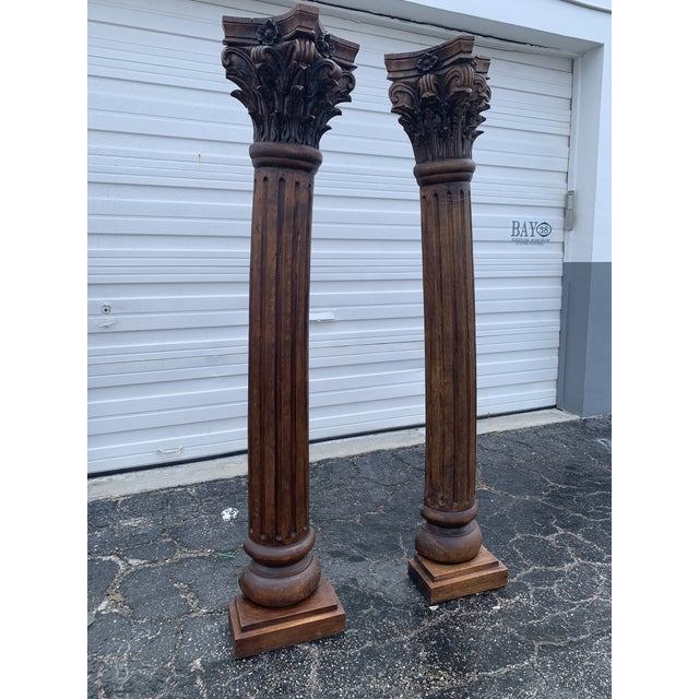 Rustic European Antique Corinthian Style Carved Mahogany Columns - a Pair For Sale - Image 3 of 13