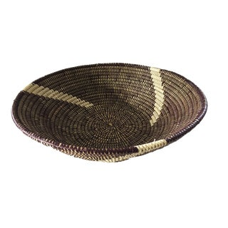 "Handmade Woven Senegalese Wolof Basket 16.5"" D For Sale"