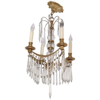 19th Century Louis XVI Gustavian Style Four-Light Bronze and Crystal Chandelier For Sale