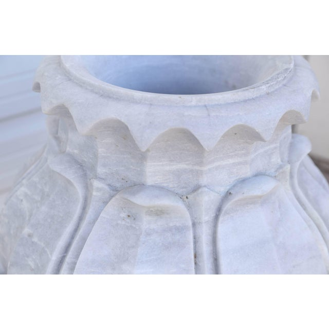 Marble Vintage Mid Century Hand-Carved Two-Part Pure Marble Garden Vases- A Pair For Sale - Image 7 of 11