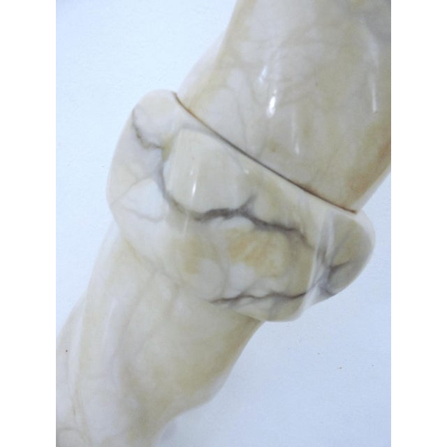 Classical Vintage Two Piece Alabaster Pedestal, Pillar or Column For Sale - Image 4 of 6