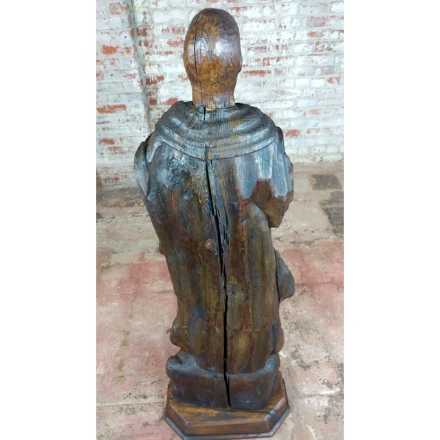 17th Century Antique French Carved Oak Santo Figure - Image 7 of 12