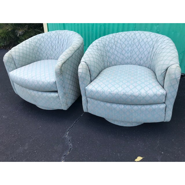 1980s Mid-Century Modern Barrel Swivel Chairs - a Pair For Sale - Image 10 of 12