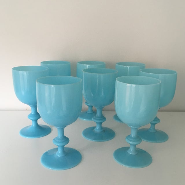 American Classical 1900s French Portieux Vallerysthal Blue Opaline Water Goblets - Set of 8 For Sale - Image 3 of 5
