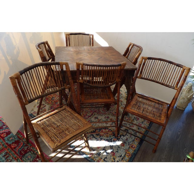 Florida Rattan and Bamboo Folding Game Table With Six Folding Chairs - 7 Pieces For Sale - Image 9 of 9