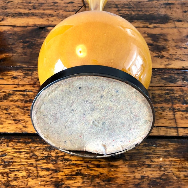 Brass Mid-Century Modern Ceramic Drip Glaze Table Lamp For Sale - Image 7 of 10