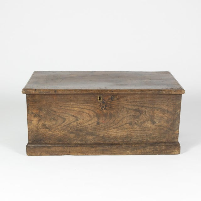 Wonderfully Rustic Chestnut trunk / blanket chest with overscale iron hinges, English circa 1860 height: 14 in. 35.5 cm.,...