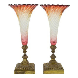 French Victorian Cranberry Swirl Glass Vases, Pair For Sale