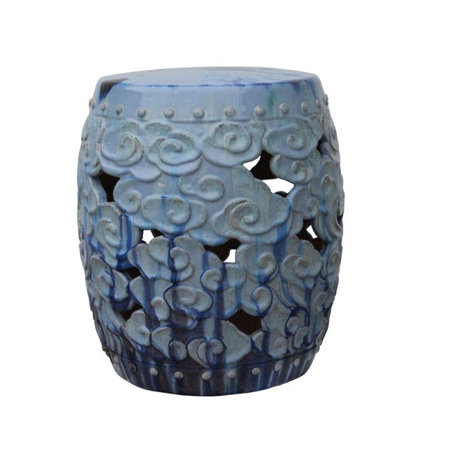 2010s Ceramic Clay Light Blue Glaze Round Scroll Pattern Garden Stool For Sale - Image 5 of 9
