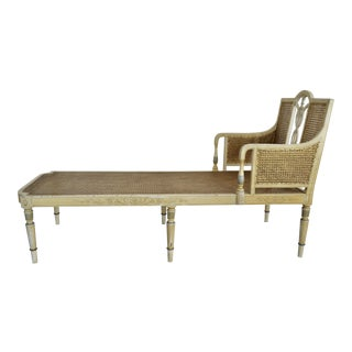 Antique Adams Painted Neoclassical Caned Chaise