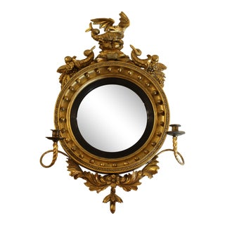 Early 19th Century English Gilt Convex Mirror For Sale