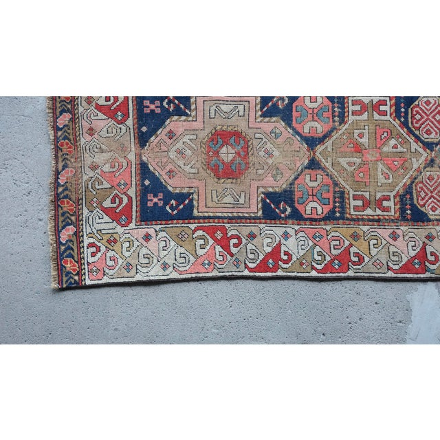 Textile Antique Distressed Caucasian Skinny Runner For Sale - Image 7 of 11