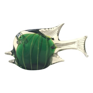 Vintage Green Murano Angel Fish For Sale
