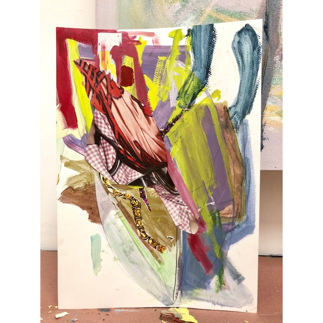 """Abstract Diana Delgado """"Cluster Study (Pink Check)"""" Painting For Sale - Image 3 of 5"""