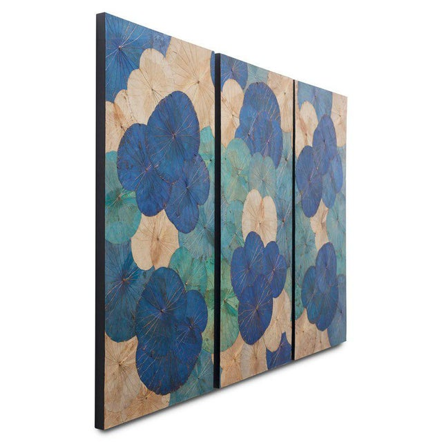 This is a set of 3 genuine lotus leaf wall hangings. The pieces were created in Thailand.