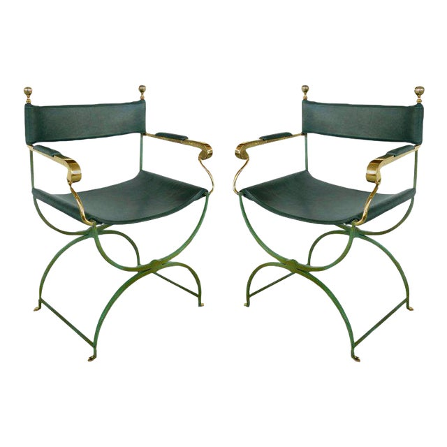 Pair of Brass Director's Chairs by Valenti, Spain For Sale