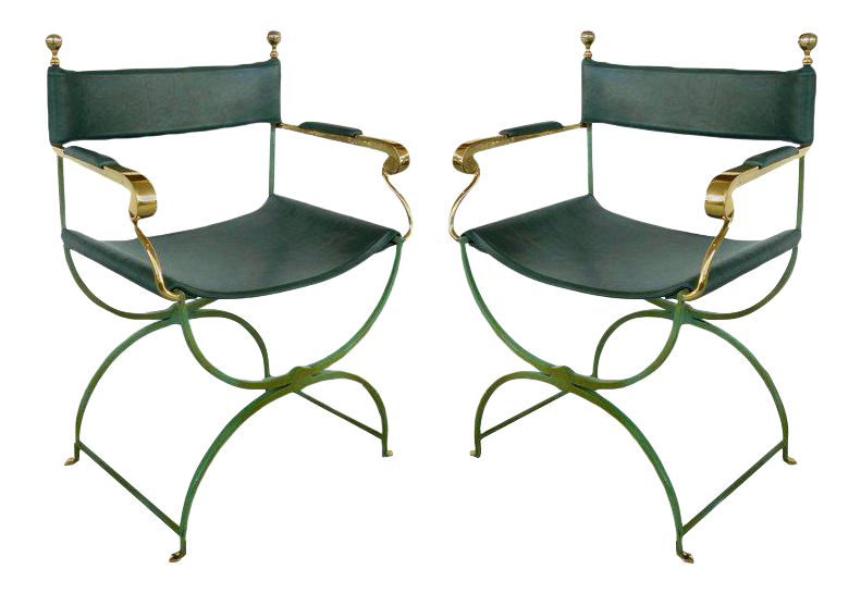 Gentil Pair Of Brass Directoru0027s Chairs By Valenti, Spain   Image 1 Of 11