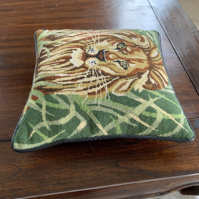 Mid 20th Century Vintage Mid Century Lion Needlepoint Pillow For Sale - Image 5 of 8