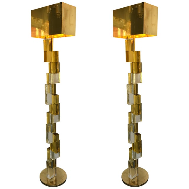 Contemporary Floor Lamps Cubic Murano Glass. Italy For Sale - Image 13 of 13