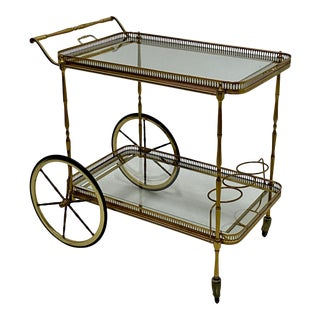 Maison Jansen Brass Bar Cart With Removable Tray For Sale