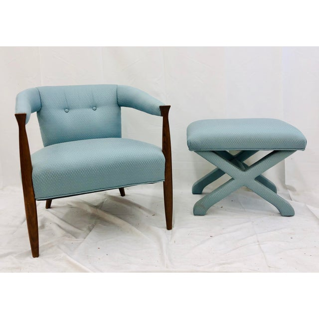 Stunning Vintage Mid Century Era Modern Arm Chair and matching Hollywood Regency Style X Base / Cross Bench Ottoman....