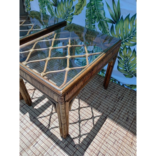 1980s Vintage Rattan Stained Diamond Design Glass Top End Side Tables -A Pair For Sale - Image 5 of 7