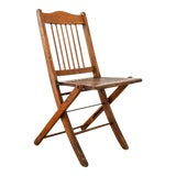 Image of Antique Wood Folding Theater or Deck Chair For Sale