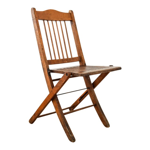 Antique Wood Folding Theater or Deck Chair For Sale