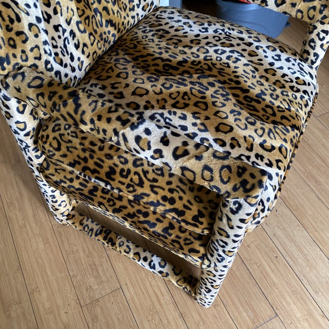 Velvet Cheetah Newly Upholstered Parsons Chairs - a Pair For Sale - Image 10 of 11