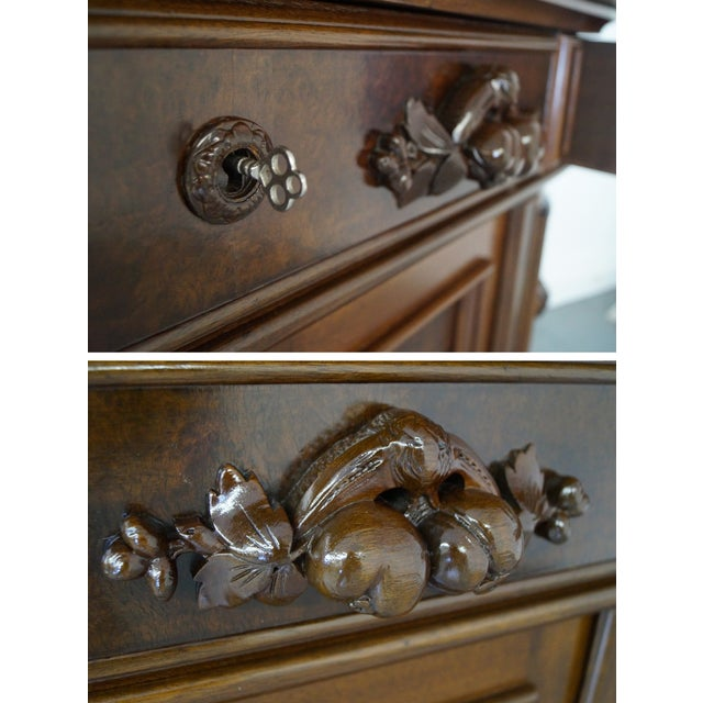 American Renaissance Walnut Marble Top Sideboard - Image 8 of 10