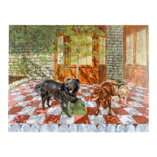 Playful Dogs Oil on Masonite Painting For Sale