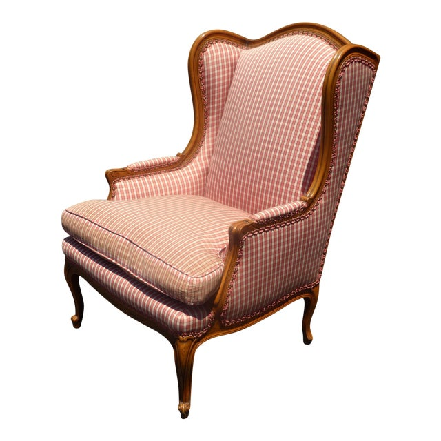 Vintage French Country Farmhouse Chic Red & White Plaid Wingback Chair - Image 1 of 11