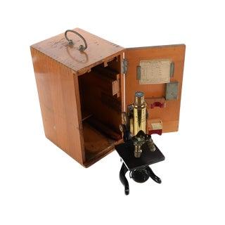 Ernst Leitz Wetzlar Antique Brass Microscope & Box For Sale