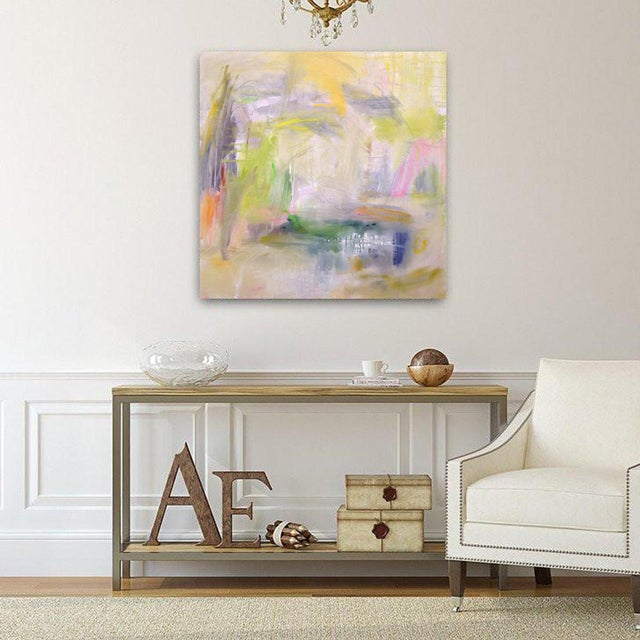 "White ""Misty Morning"" by Trixie Pitts Abstract Expressionist Painting For Sale - Image 8 of 12"