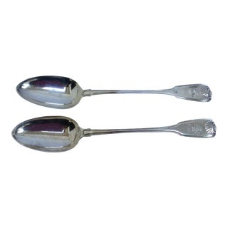 English Sterling Serving Spoons - A Pair For Sale