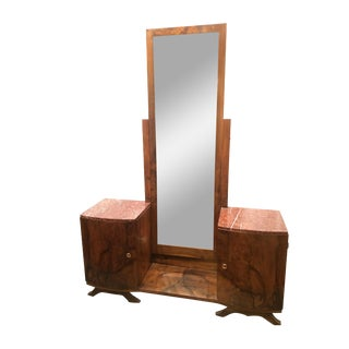 French Art Deco Dressing Table with Full Length Mirror and Marble Top For Sale