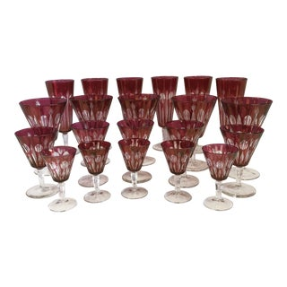 Italian Cranberry Red Crystal Wine, Cordial, Champagne Glasses - Set of 21