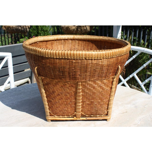 Chinoiserie Large Vintage Woven Basket Planter For Sale - Image 3 of 13