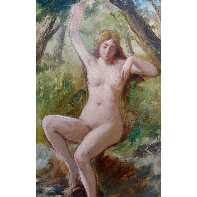 19th Century French School-Nude Nymph by the River -Oil Painting For Sale - Image 4 of 7