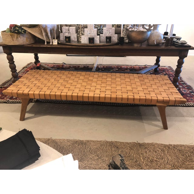 Woven Leather Bench For Sale In Charleston - Image 6 of 6