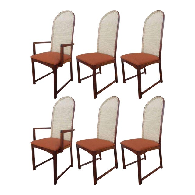 Caned Back Dining Chairs by Milo Baughman - Set of 6 For Sale